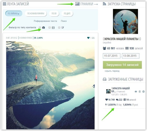 Популярные записи Фейсбук и Вконтакте находим легко