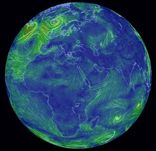 Earth Wind Map карта ветров в реальном времени