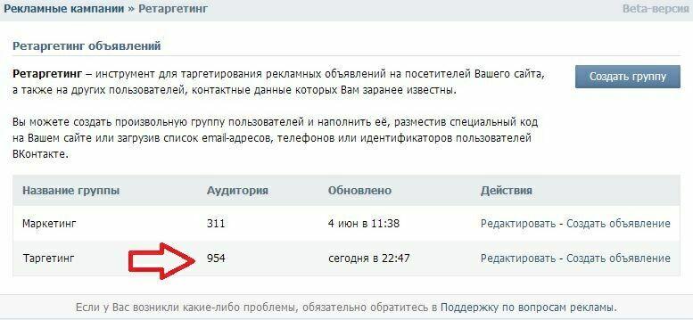 Ретаргетинг объявлений Вконтакте группы