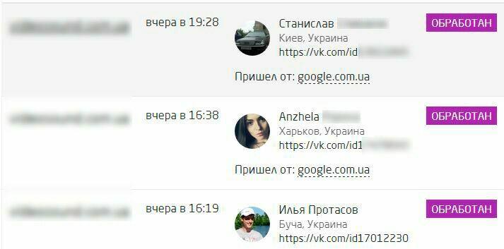 Возможность определение профилей Вконтакте