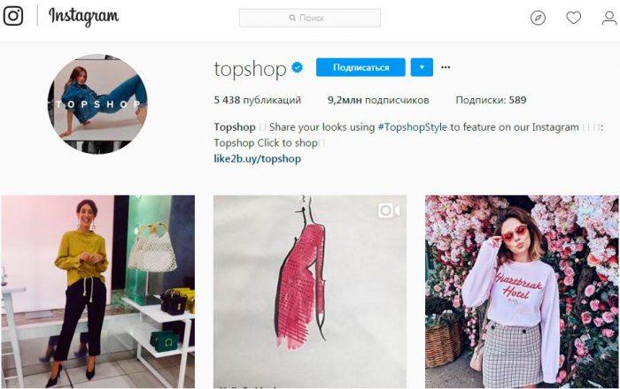 Topshop в Instagram