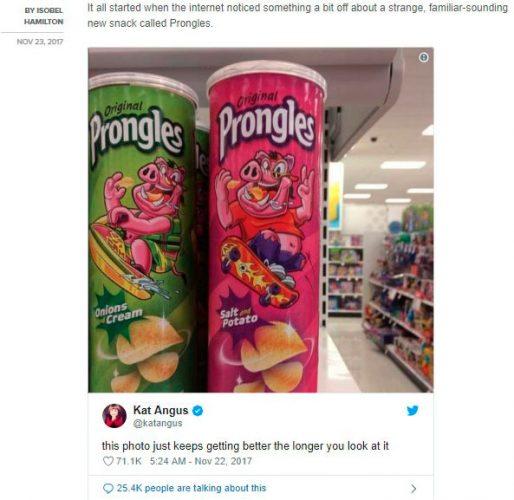 Получилась хорошая вирусная реклама, пример от Prongles